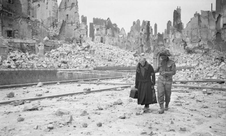Caen's skyline during the the Normandy Campaign