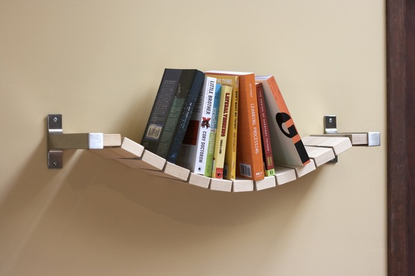 Resembling a Rope Bridge This Bookshelf Look Extraordinary and Adds Authenticity to Your Interior Design