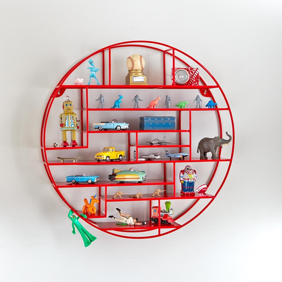 Red Wired Circular Wall Shelf