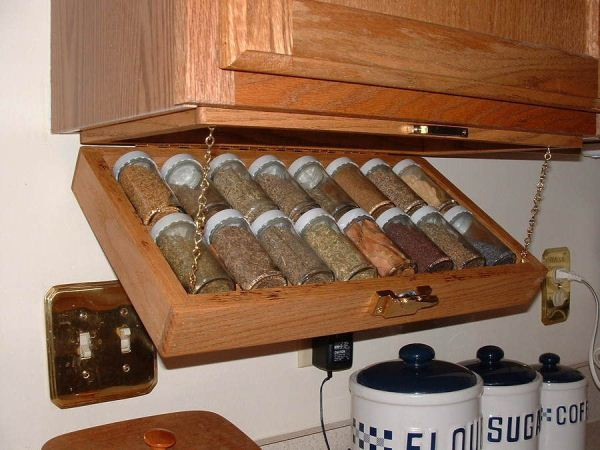 Kitchen Storage Idea-Under Cabinet Spice Rack