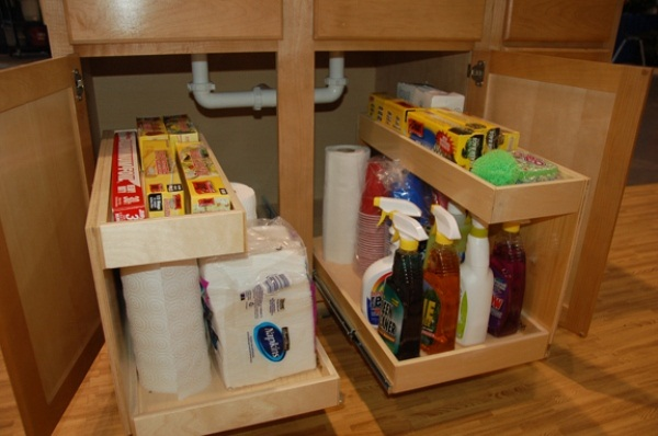 Diy storage ideas how to build kitchen storage under the sink Diy under counter storage