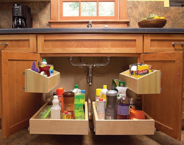 DIY Storage Ideas-How to Build Kitchen Storage Trays Underneath the Sink