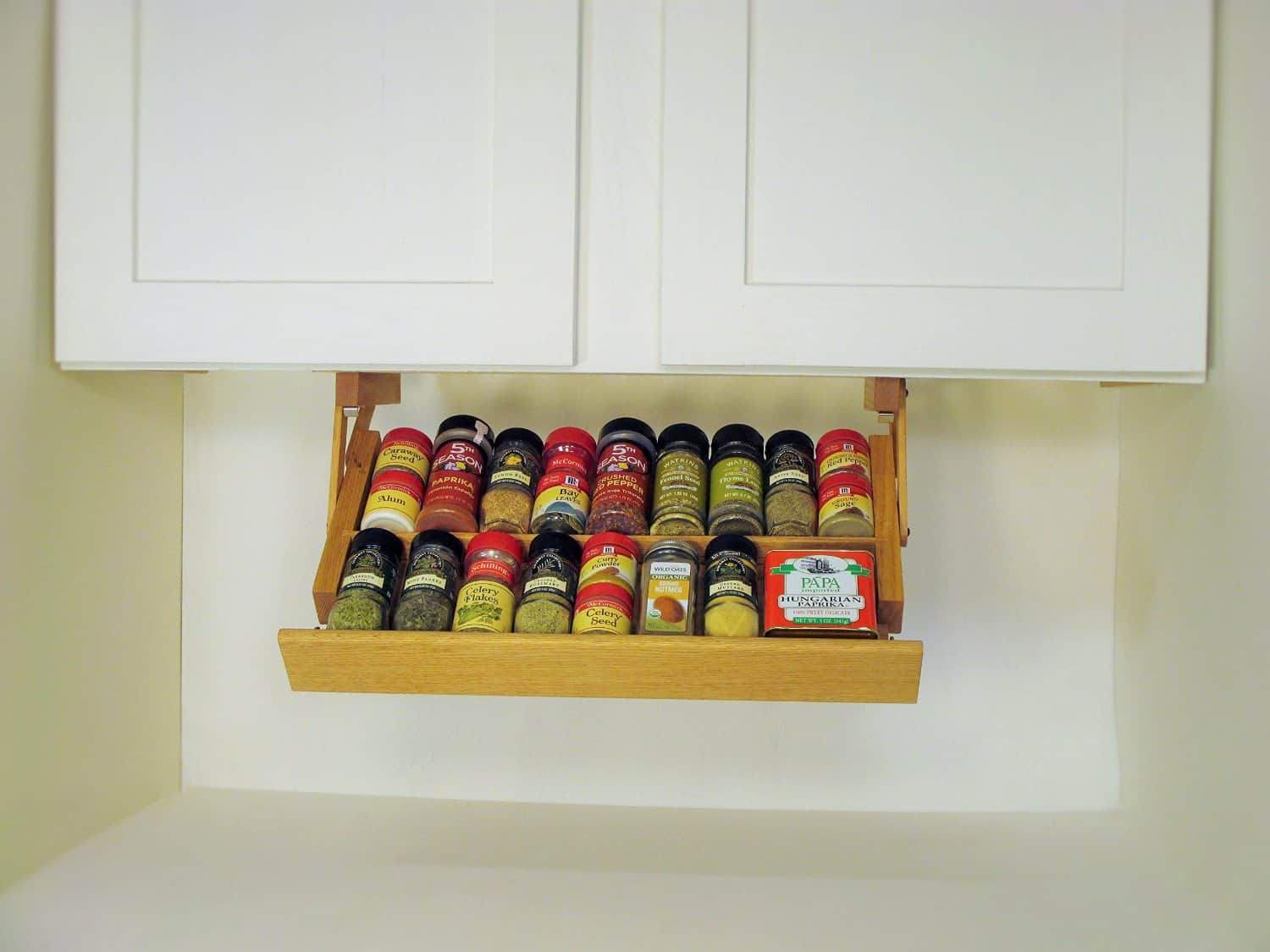 Handmade Hardwood Under Cabinet Mounted Spice Rack (3)