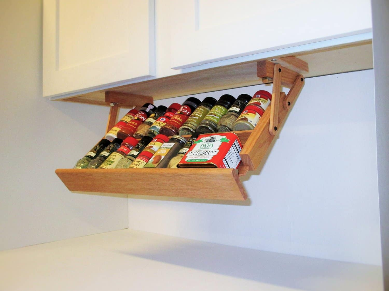 Handmade Hardwood Under Cabinet Mounted Spice Rack (4)
