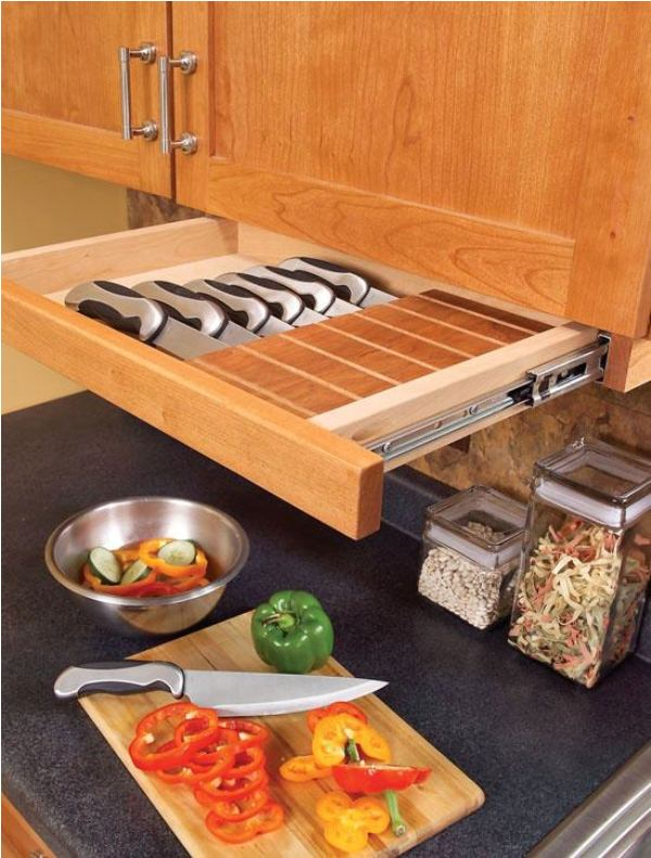 Hidden Cabinet Knife Drawer Safe For Children