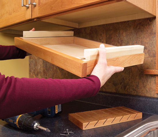 Hidden cabinet knife drawer safe for children Diy under counter storage