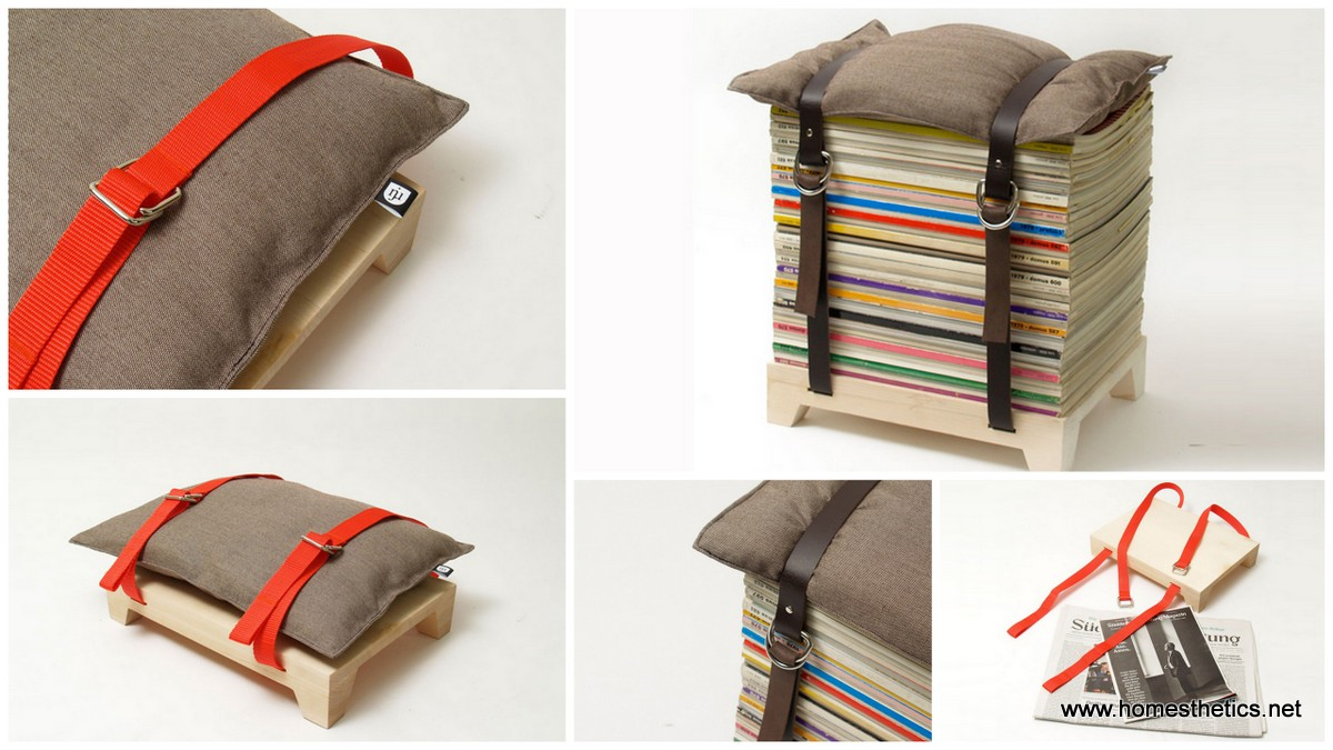 Hockenheimer Stool Transforms a Stack of Old Magazines into a Cool Chair1