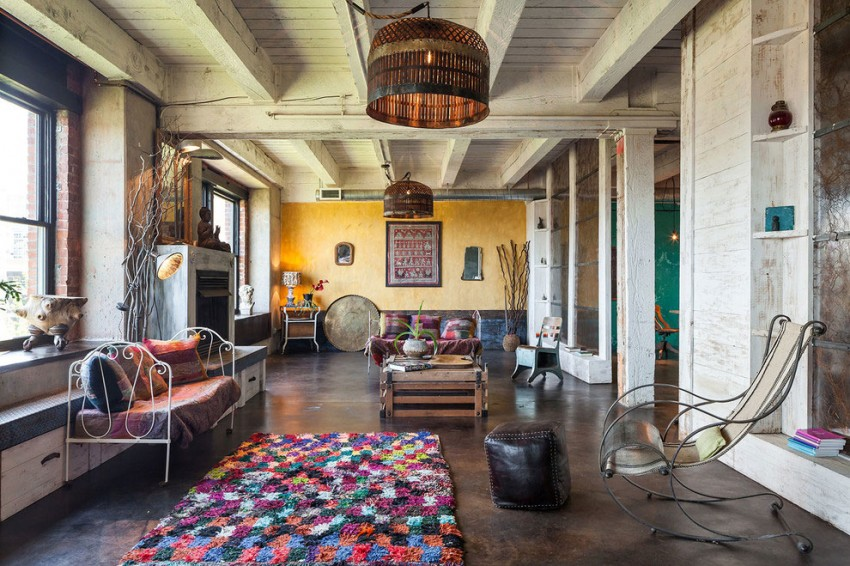 Intense Colorful Eclectic Industrial Home Design Located in Portland USA
