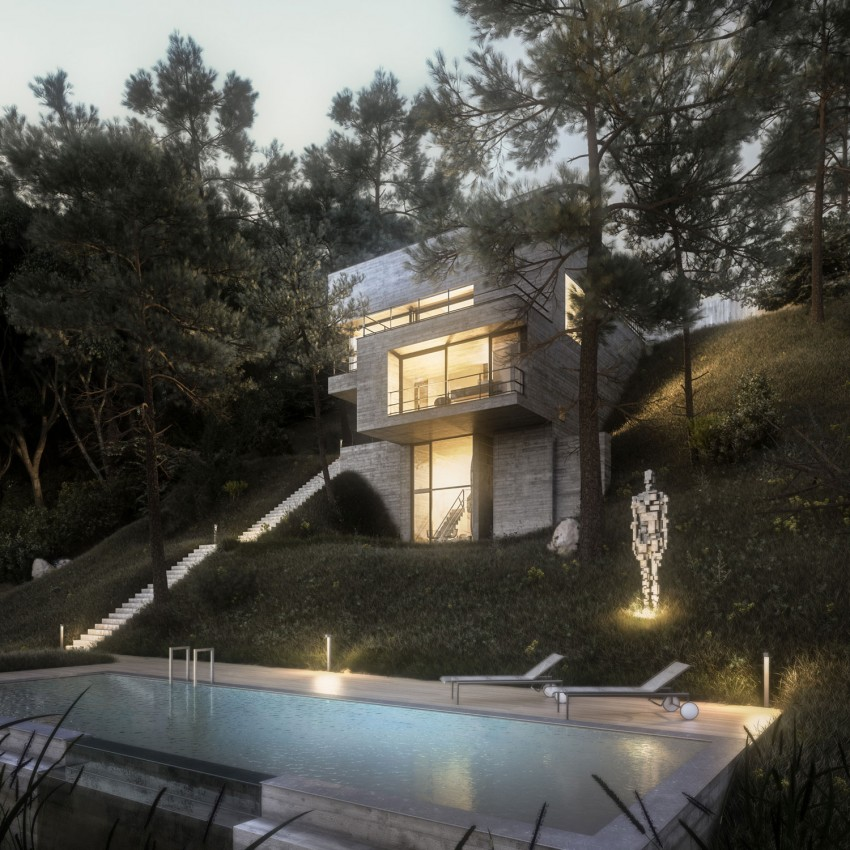 Sophisticated Minimalism in a Home Embedded in Vegetation by Design Raum
