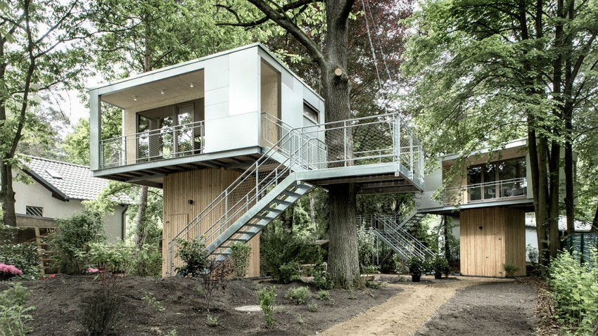 perspective view of the beautiful Superb Urban Treehouse Surrounded by Forest in Berlin Germany