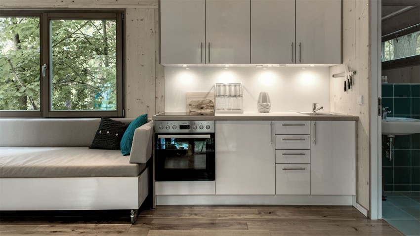 kitchen interior design in the Superb Urban Treehouse Surrounded by Forest in Berlin Germany
