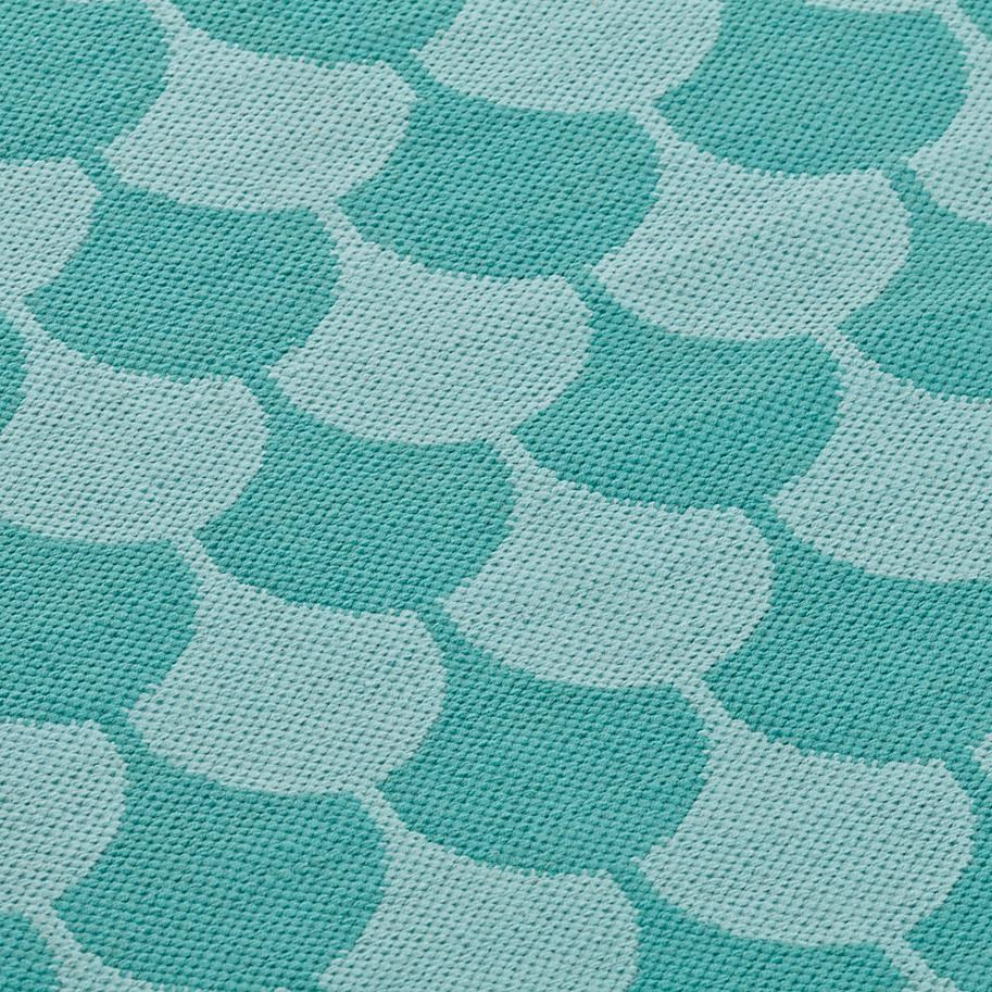 Scallop Pattern in Teal Tones on a Rug