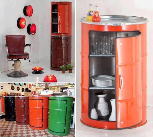 Unusual Colorful Cabinets Forged Out of Metal Barrels
