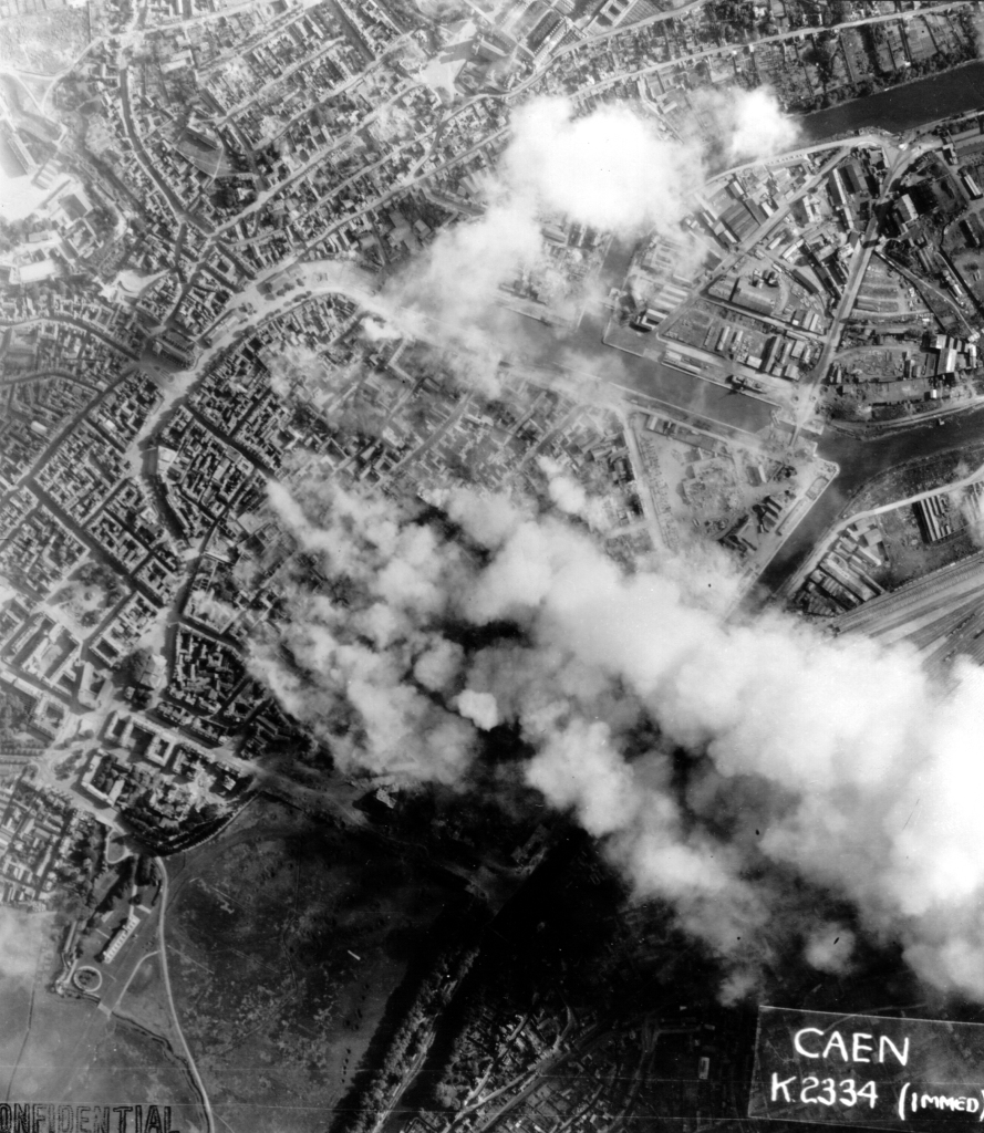 Aerial view of city after the bombardment.