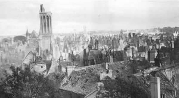 Caen's skyline during the the Normandy Campaign.