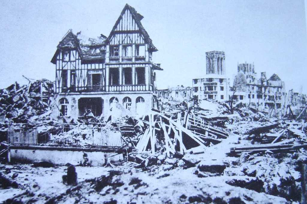 The destruction brought on by the bombing on houses in the old town.