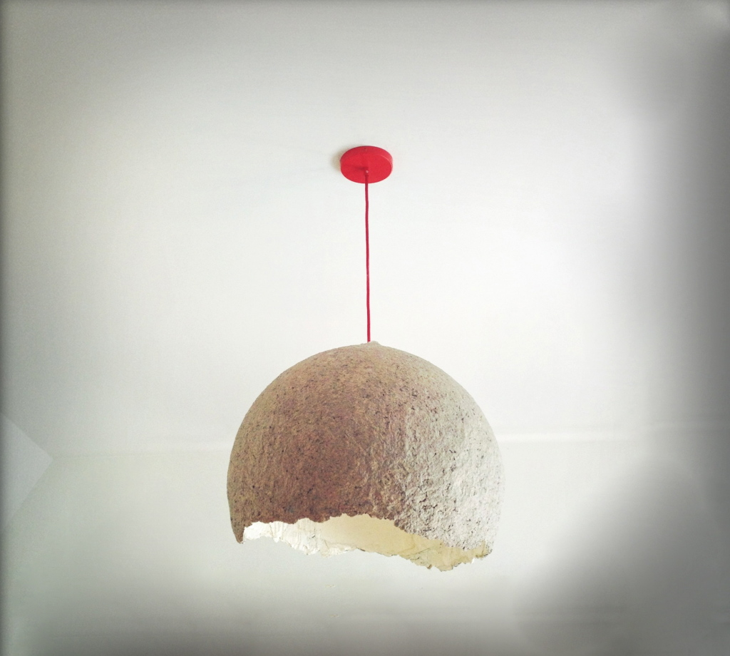 2. Recycled paper lamp shaped around a balloon