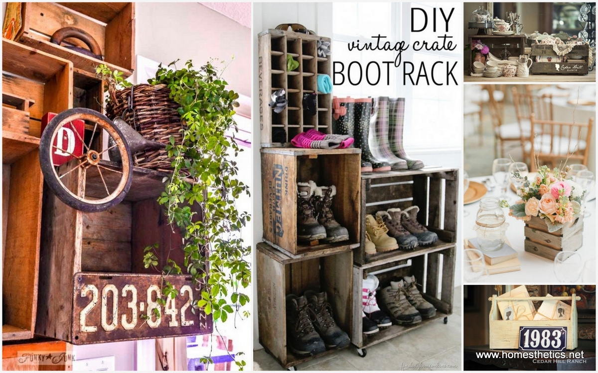 Creative ideas on how to re purpose old wooden crates for Decoration usine vintage