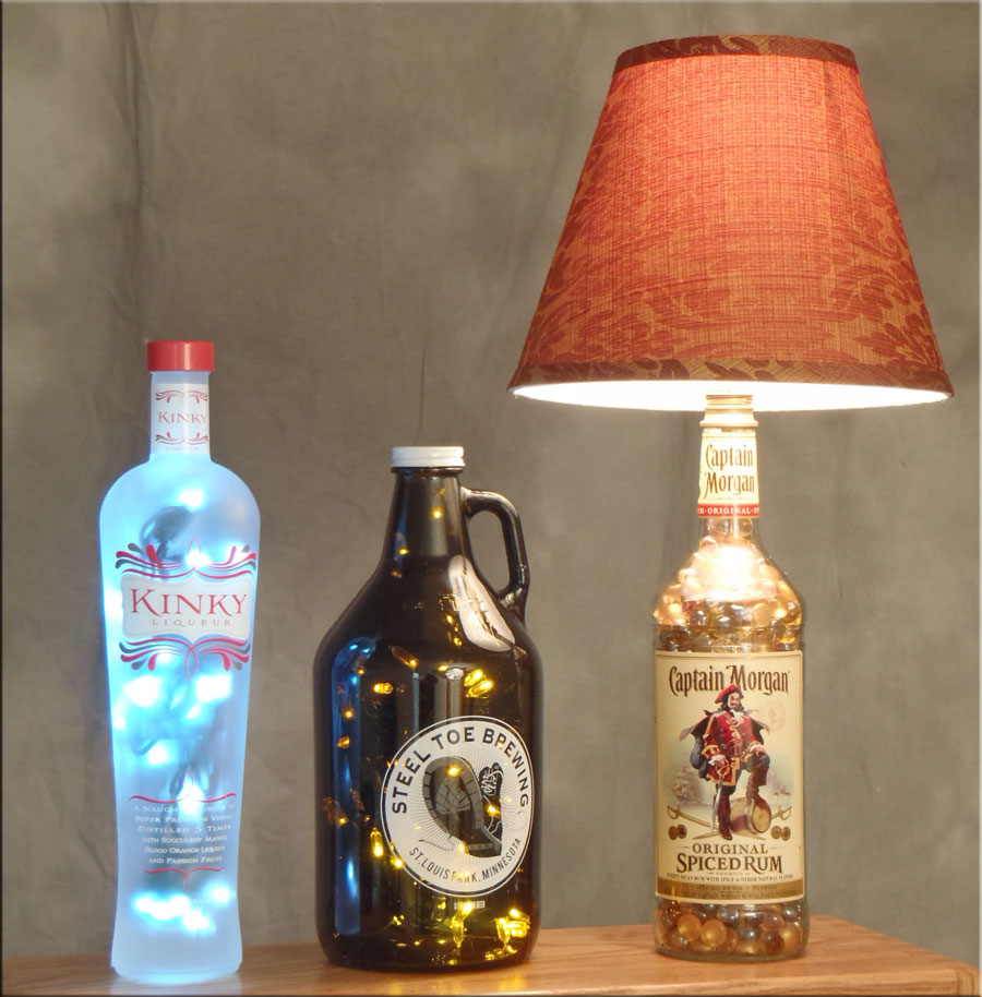 8. Recycle old alcohol bottles into one of a kind lamps