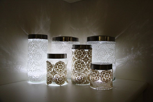 26. Add lace to mason jars for a delicate lighting effect