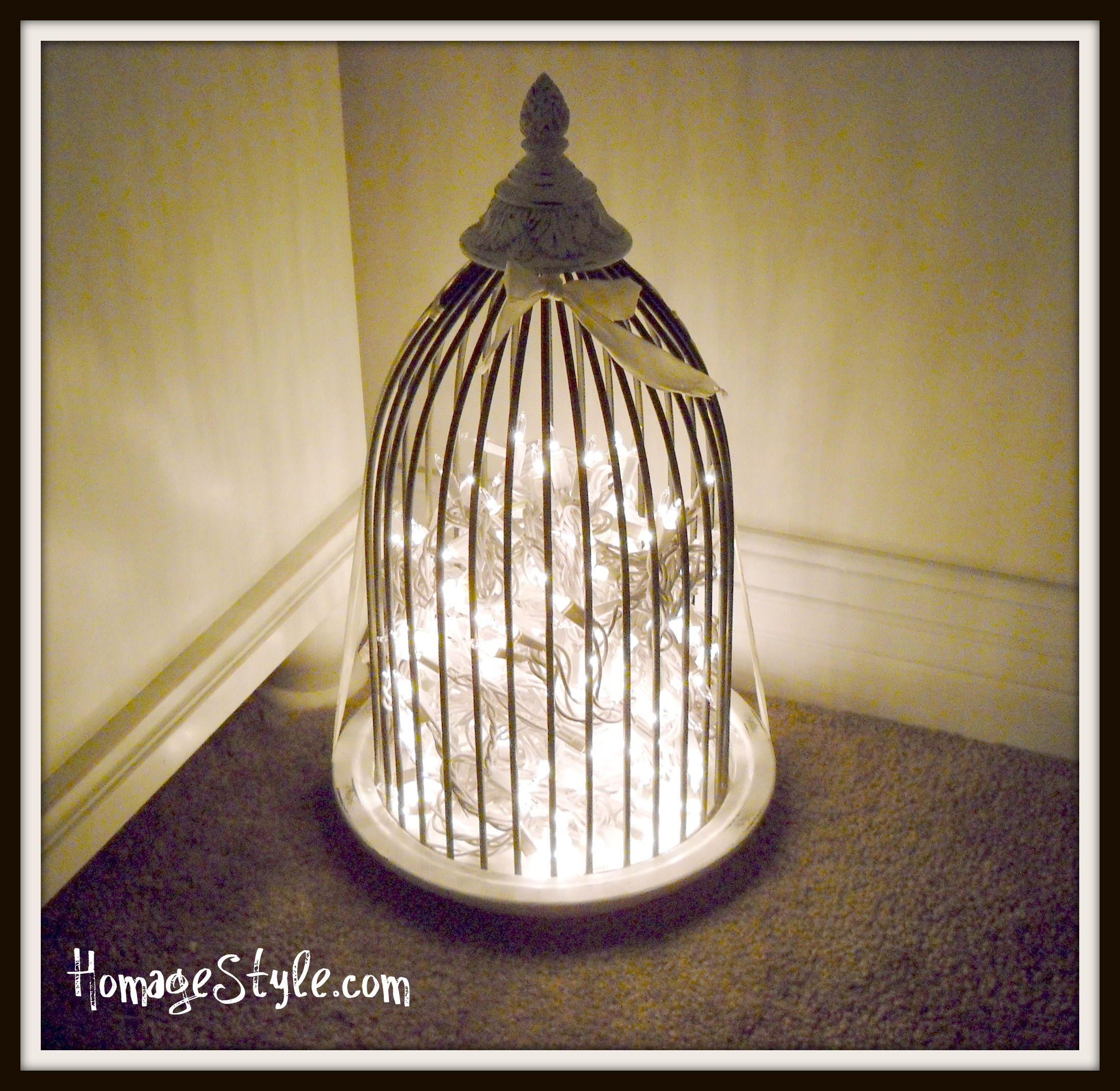 29. Reuse a bird cage as a luminary