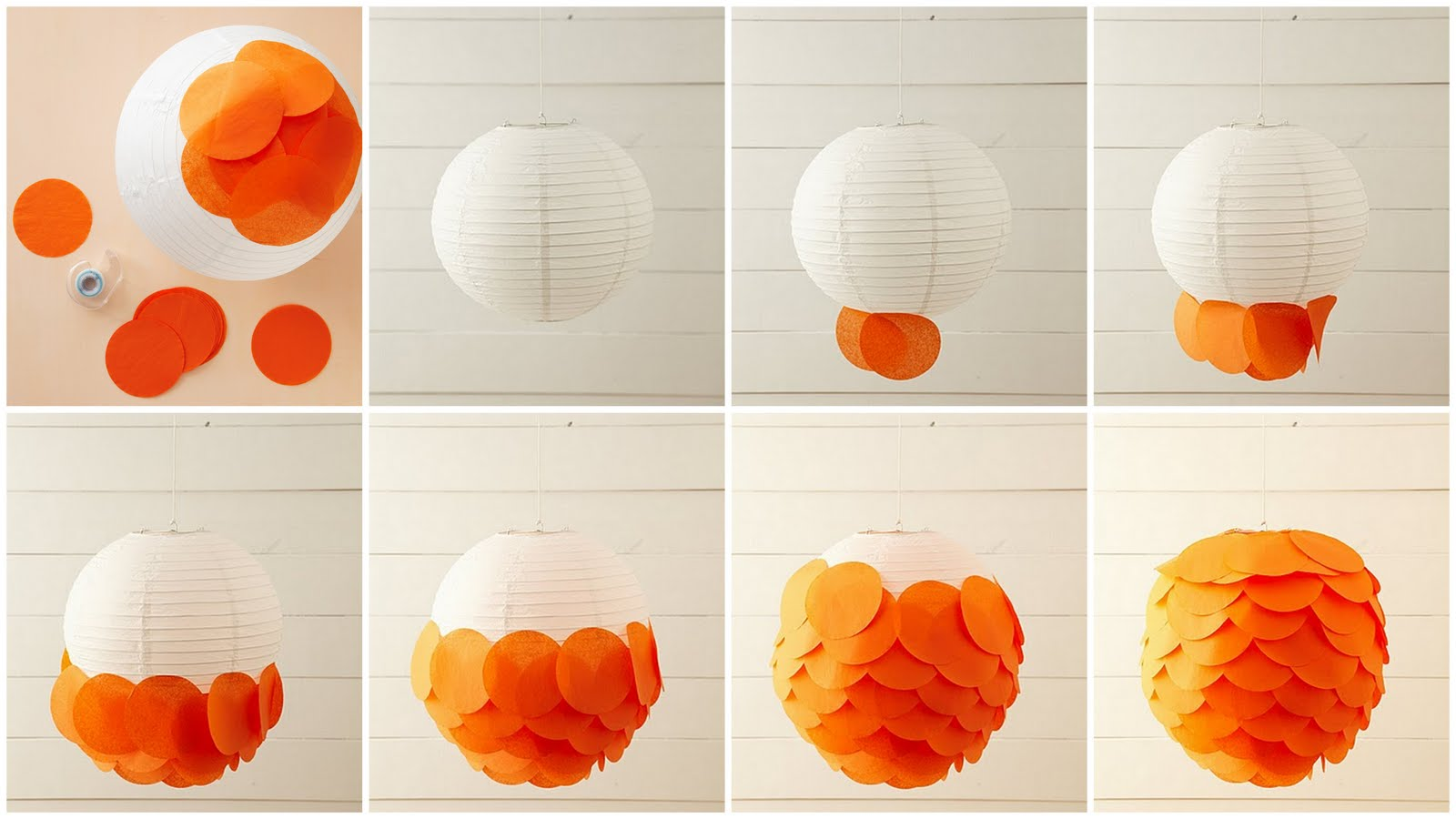 30. Use a paper lantern and add some colorful paper circles for a layered lamp