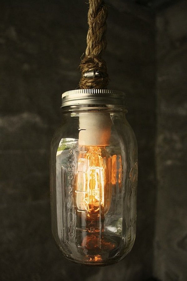 9. Luminaries and Lamps Ideas-Mason jars, a lighting bulb and rope for a vintage lantern