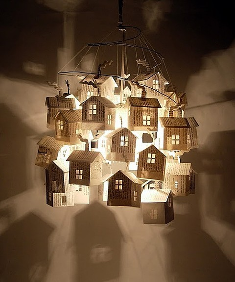 12. Floating little houses chandelier perfect for your little one