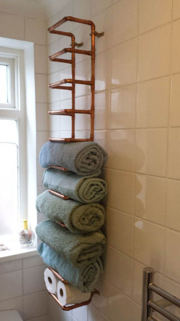 copper shelves for towels
