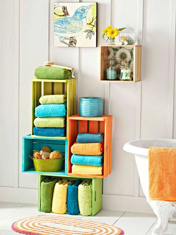 colorful paper towels and wall cubbies for your bathroom