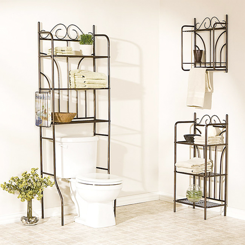 simple metallic shelves holding the sink and towels