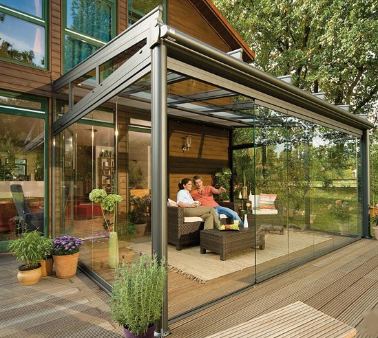 Metal And Glass Extension In Backyard Landscaping Ideas Patio Design Ideas  Homesthetics