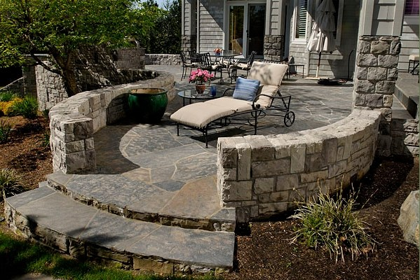 enclosed with stone walls patio in Backyard Landscaping Ideas-Patio Design Ideas Homesthetics