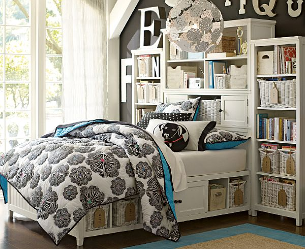 Dense And Space Efficient Bloom Headboard In A Teenage Girl Bedroom