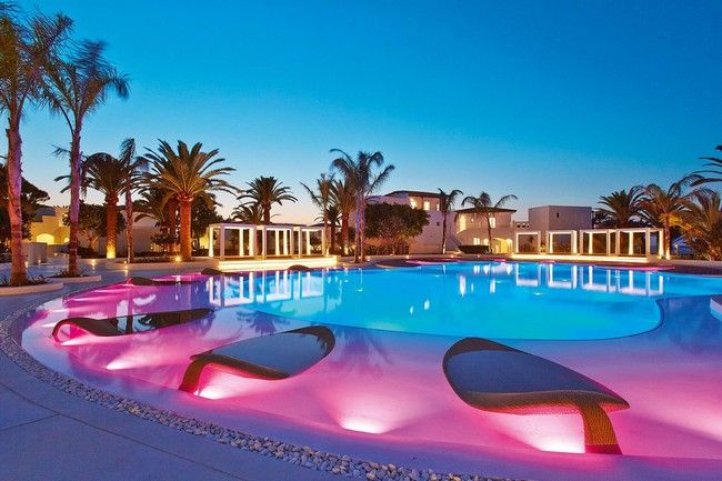 Colorful Sculptural Confetti Swimming Pool at The Grecotel Caramel Boutique Resort