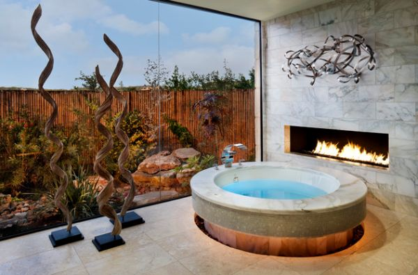 Cool-Bath-Tub-Design-With-An-Adjacent-Fireplace-Cool-And-Stylish-Small-Bathroom-With-Tub-Design-Ideas