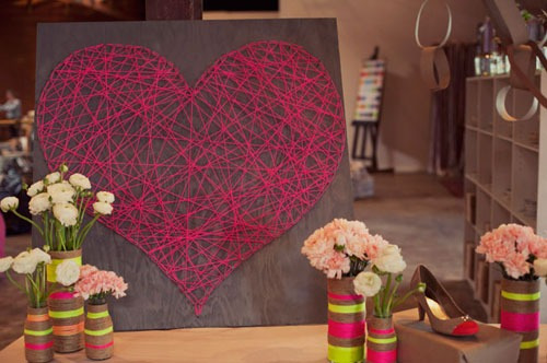 string heart diy wall art