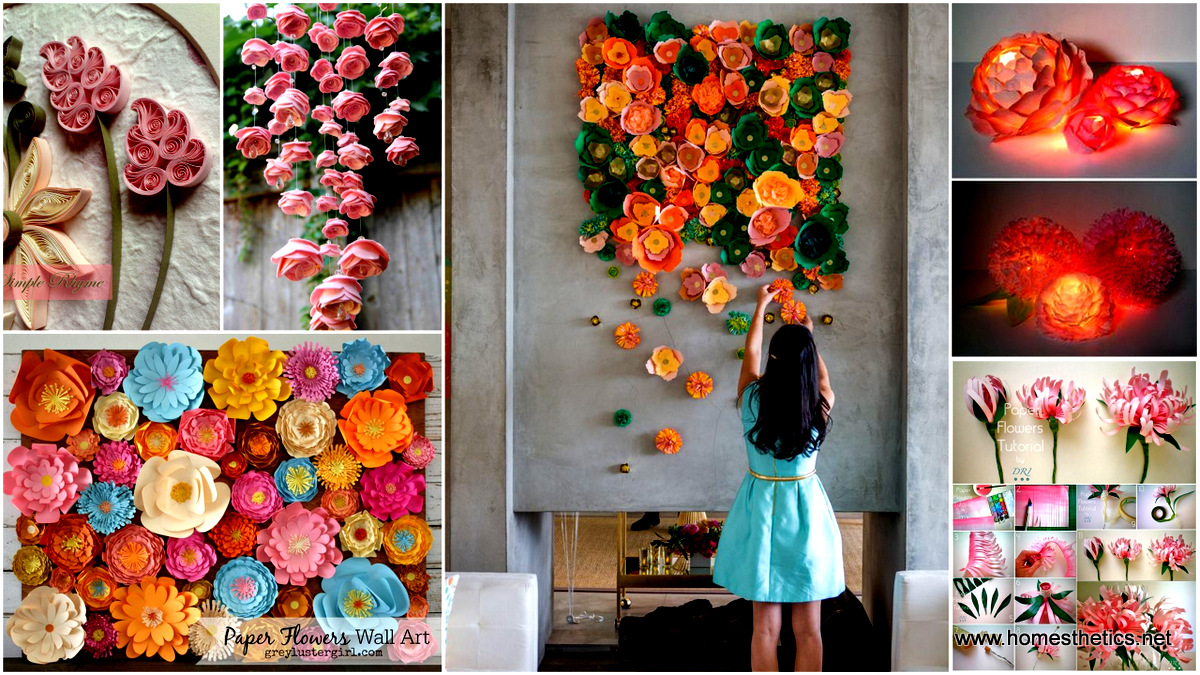 40 ways to decorate your home with paper crafts for Art and craft for wall decoration