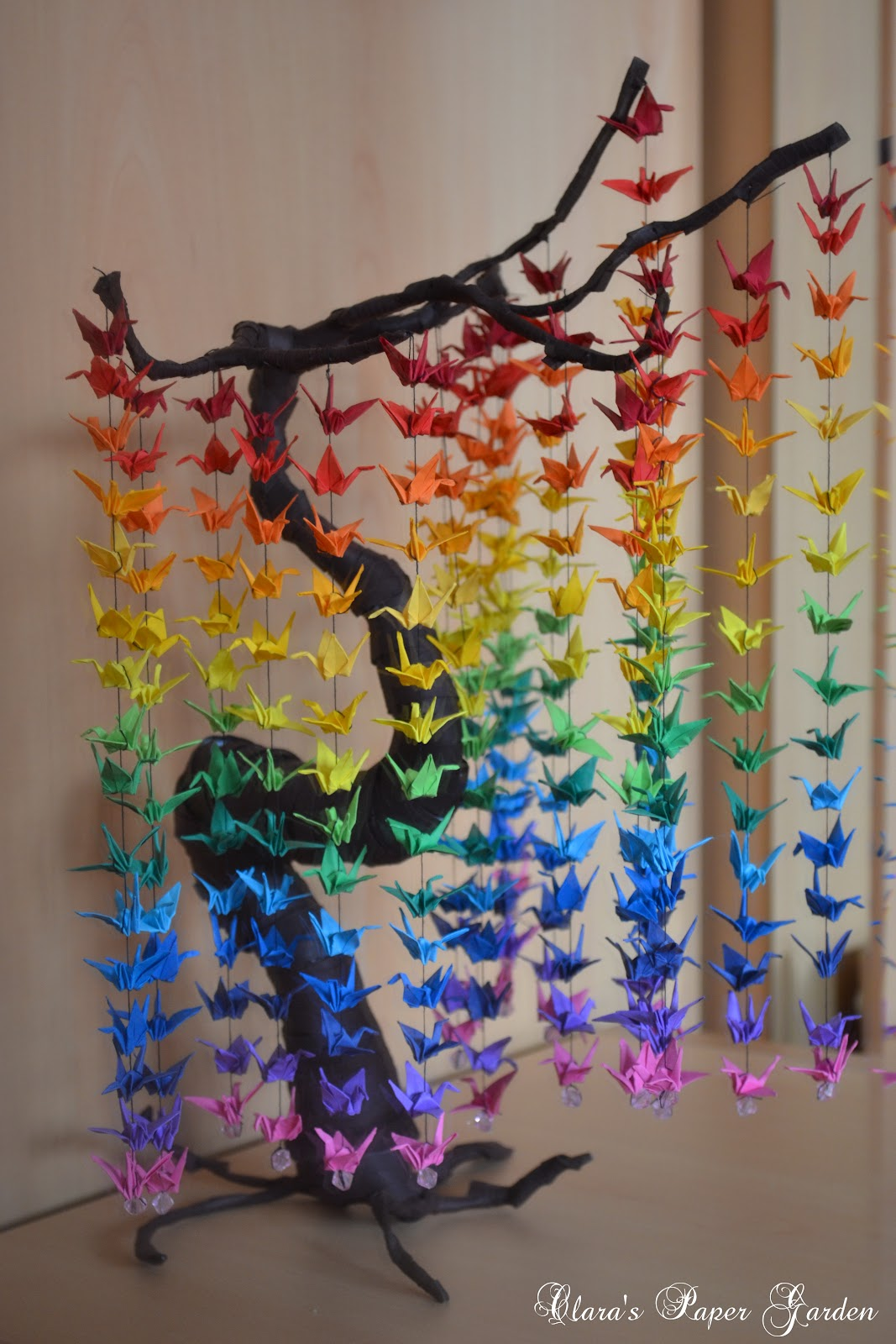 37 degrade paper crane curtain