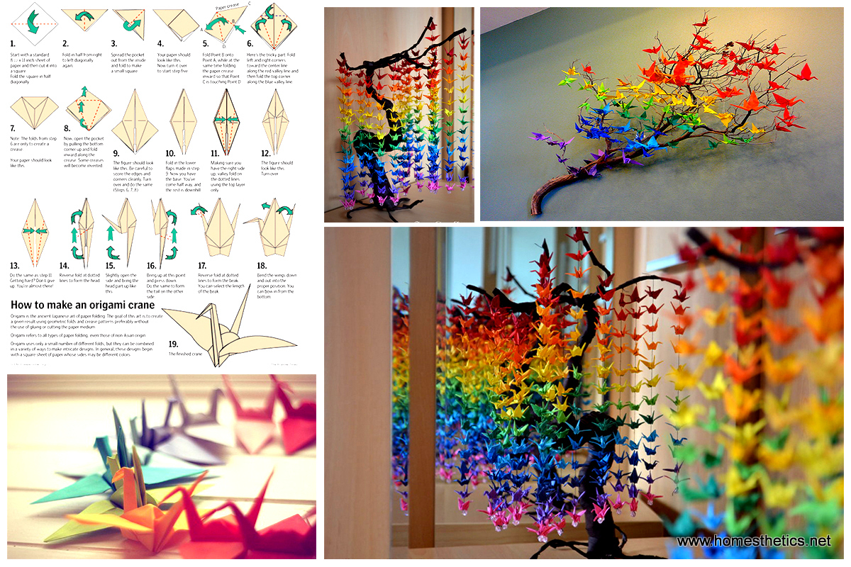 Guide on how to create a colorful rainbow diy crane for Handmade room decoration items