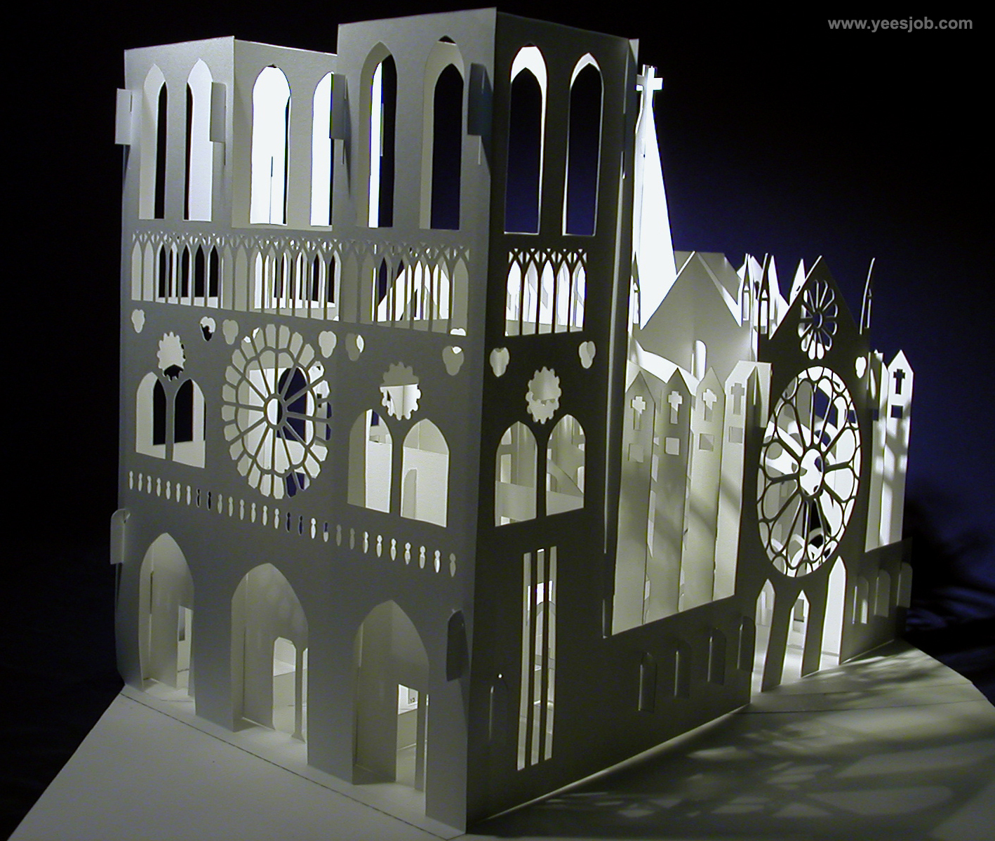 Notre Dame Cathedral 180 Degrees Open Pop Up DIY Kirigami Architecture