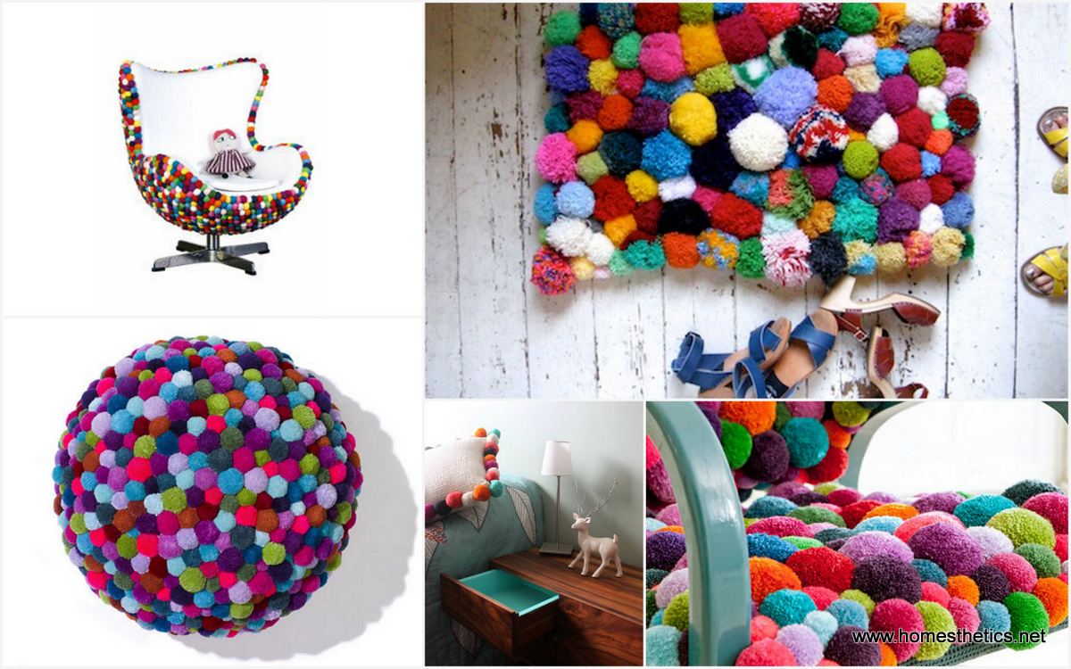 cute colorful diy pom pom crafts and ideas video included. Black Bedroom Furniture Sets. Home Design Ideas