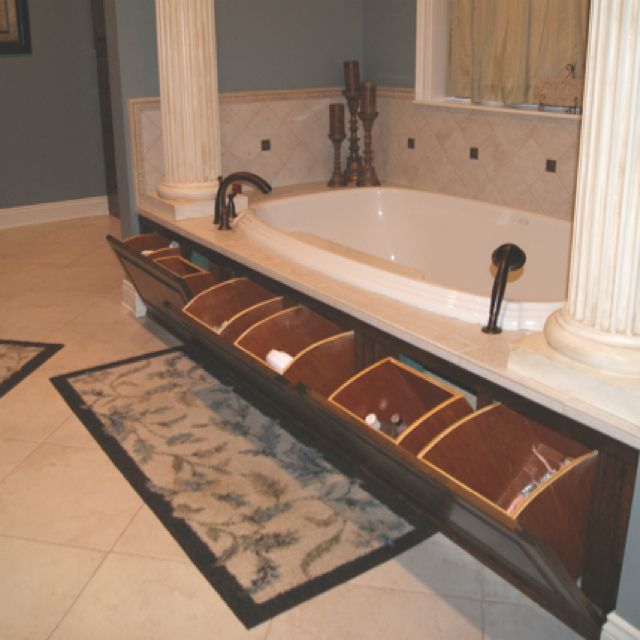Hidden Storage Ideas Huge Storage Compartment  Under a Luxurious Bathtub