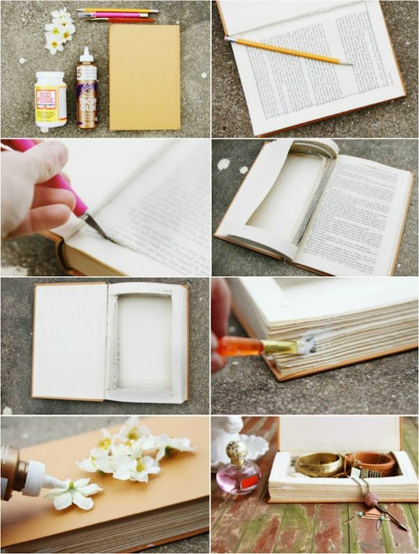 Hidden Storage Ideas Create a Hidden Spot in the Library by Sticking All The Pages of a Book and Cropping the Middle