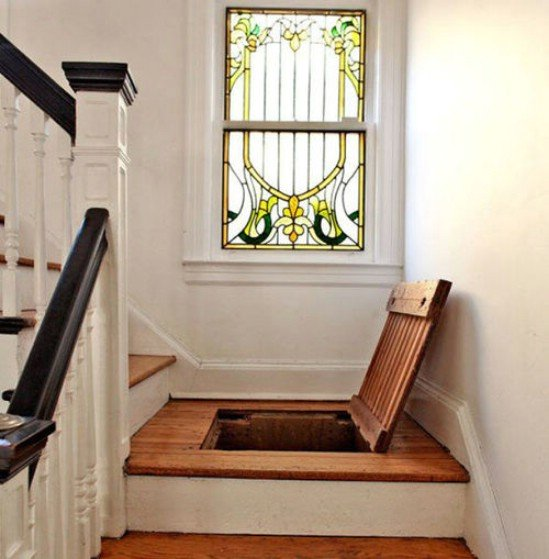 Stair Storage Space; Even Though It May Be Visible It Is Uncomfortable to Search Into + A Simple Rug On Top of It Can Help