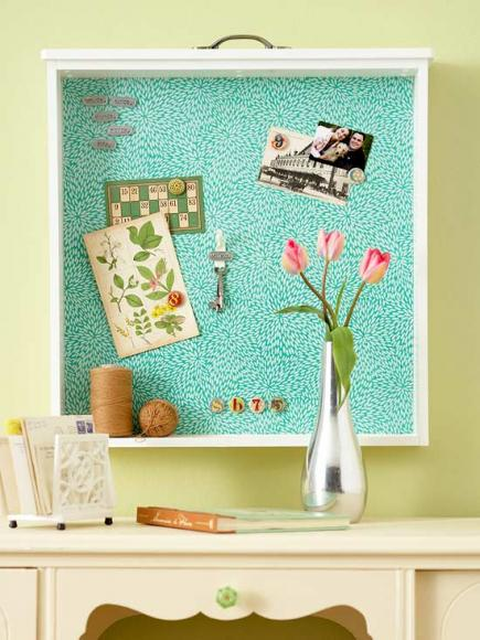 14. TURN AN OLD DRAWER INTO A MAGNETIC PAPER BOARD