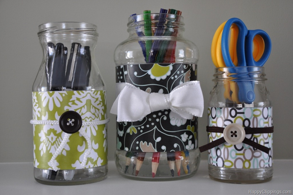 4. ORGANIZATION MASON JARS DECORATED WITH PAPER