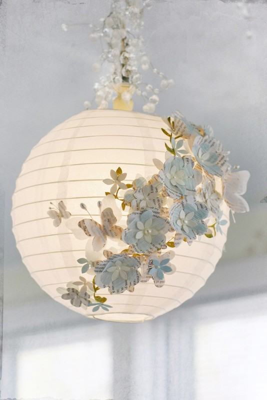 3. GORGEOUS WHITE PAPER LAMP WITH HAND-CUT PAPER BUTTERFLIES AND FLOWERS