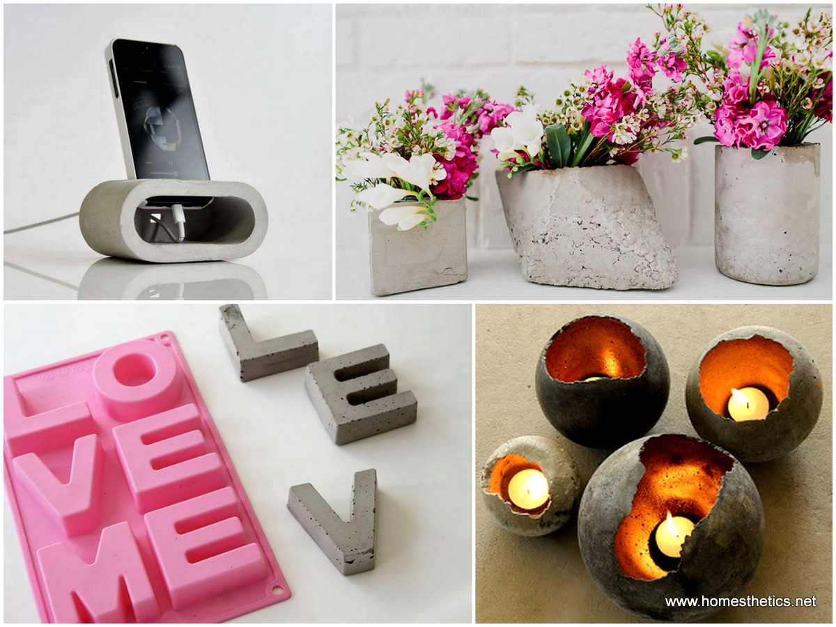 20 cute easy fun diy cement projects for your home for Home made decorative items