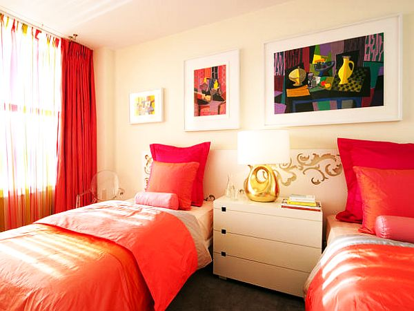 Colorful Bedding in a Bedroom Designed For Twins